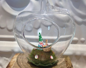 Tiny Apple picking Garden Gnome Glass Apple Terrarium Birthday Gift Christmas Gift Miniature Garden Gnome Basket of Apples