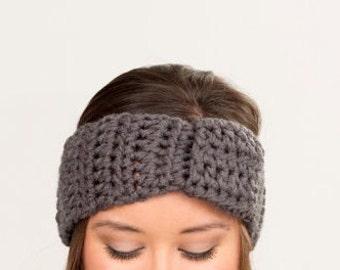 Charcoal Gray Chunky, Extra-Wide, Knot Headband / Earwarmer, Handmade, Crocheted, Modern Turban, Women's Winter Accessory