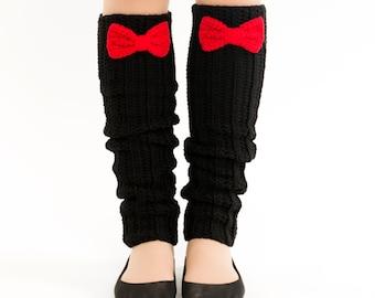 SALE--Black and Cherry Bow Knit Leg Warmers, Crocheted Boot Socks, Handmade Women's Warm, Soft Cozy Winter Accessory, Dance Wear, Ballet