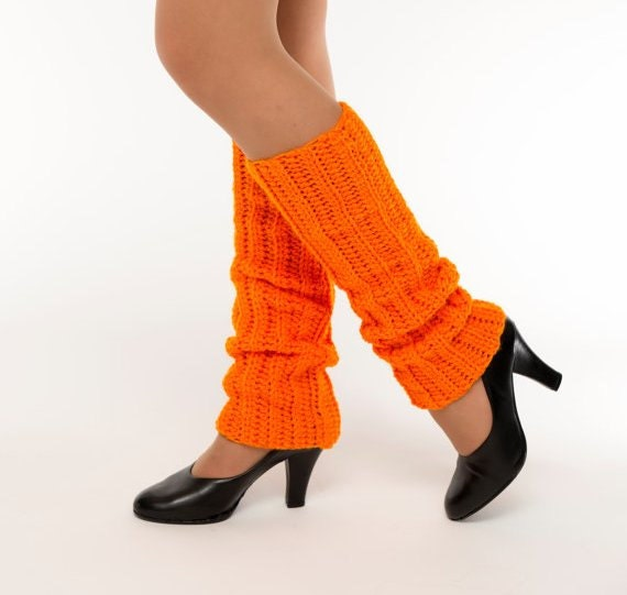 LIMITED-Neon Orange Crocheted Leg Warmers, Ballet, Jazz, Dance Wear, Handmade Knit Ankle Warmers, Women's Warm Winter Accessory, 80's Style