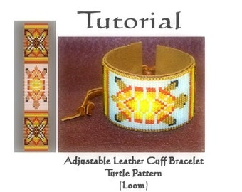 Tutorial - Adjustable beaded leather cuff bracelet with pattern - Instant download