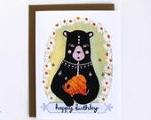 Birthday Card - Greeting Card - Birthday Bear Illustration Card