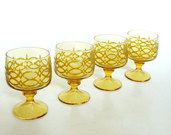 Amber Glass Footed Sherbet Dessert Serving Cups Dishes Goblets Set of 4, Mid Century Glassware