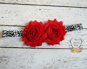 Black & White Damask Headband with Red Shabby Chiffon Flowers -  Baby Infant Toddlers Girls Women