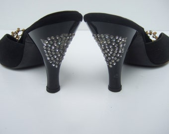 1950s Stylish Diamante Crystal Black Suede Mules