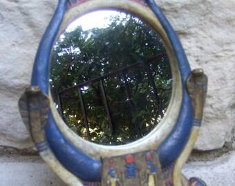 Egyptian Style Small Decorative Mirror c 1970s