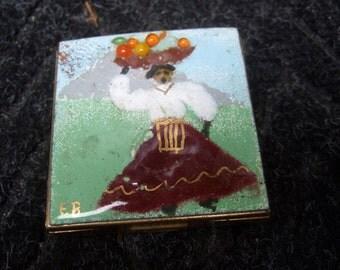 Cloisonne Enamel Figural Woman Compact Case c 1960