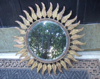 Metal Leaf Small Round Wall Mirror