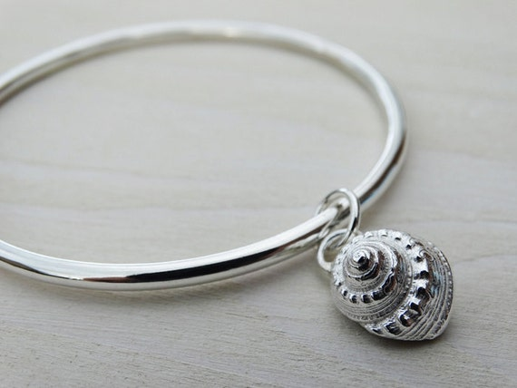 Solid Silver Bangle & Silver Winkle Seashell - Sterling Silver