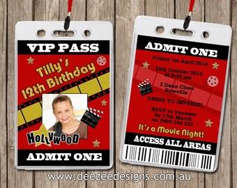 Photo Personalised Hollywood Movie VIP Lanyard Invitations x 10