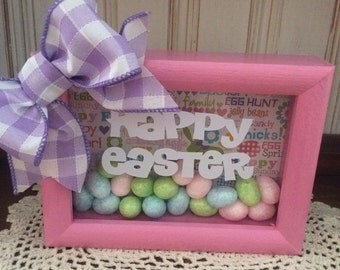 Happy Easter 5 x 7 Pink Shadow Box with Easter Eggs