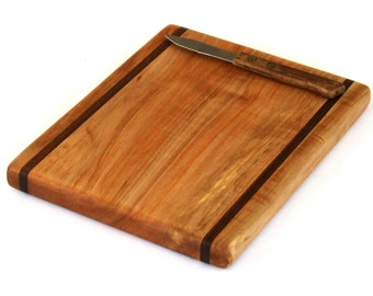 """Natural Maple Cheese Board with Walnut Accents - Ready to Ship - 9-1/2"""" x 7-1/2"""" x 3/4"""""""