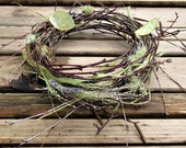 Spring Table Wreath, Twig Nest Candle Ring, Cake Decor - Woodland Rabbit, Small - Birch, Honesty, Lavender, Lichen and Ornamental Grasses