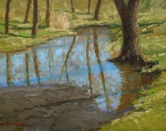 Original landscape oil painting - Forest Pool