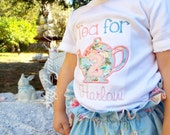 Tea for Two Personalized Birthday Embroidered Applique Shirt or Bodysuit Toddler