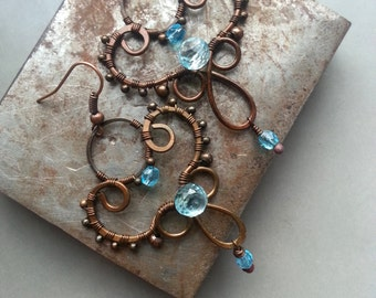 Delicate Wire Wrapped Earrings with Quartz and Czech Glass -Blue Earrings - Copper-  Made to Order -