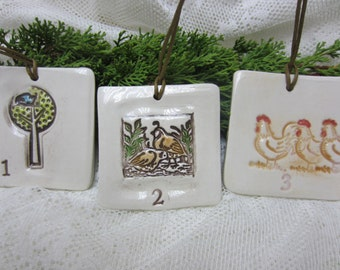 The Twelve Nights of Christmas Set of 12 Holiday Ceramic Handmade Ornaments