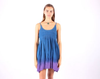 SALE - 90s Indian Gauze Floaty Babydoll Mini Hippie Dress w/ Ombre Tie Dye