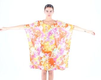 SALE - Floral Rayon Gauze Rainbow Kaftan Dress w/ Sweeping Sleeves