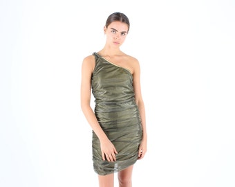 SALE - 90s / Millennium Glitter Metallic GOLD HOLOGRAPHIC One Shoulder Ruched Bandage / Bodycon Mini Dress
