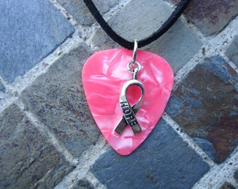 Hope Ribbon Guitar Pick Necklace, Pink Swirl with Hope Ribbon Charm, Breast Cancer Awareness.