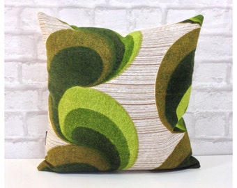 "Cushion Cover Vintage 1970s Retro Fabric 16"" x 16"" Green Psychedelic Retro Throw Pillow Cover"