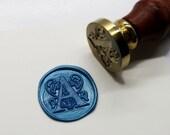 "S1102-36 Alphabet Letter ""A - Z "" Wax Seal Stamp , Floral Decorative Initial Monogram"