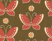 Sale 1 yard Fabric-MODA Freebird Butterflied in Nest (Brown and Red) 1 yard