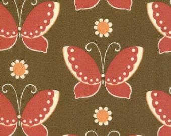 Sale 1 yard Fabric-MODA Freebird Butterflied in Nest (Brown and Red) 1 yard