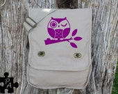 Cute Owl on a Branch Canvas Messenger Bag - Laptop Bag - iPad Bag - Diaper Bag - School Bag