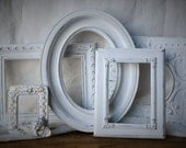 5 Frame Set Hand painted White Distressed Shabby chic French country cottage
