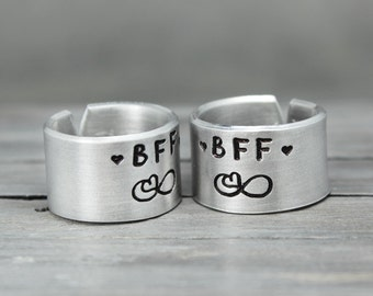 Friendship Rings, Best Friends Rings, Friendship Jewelry, BFF Rings for TWO, Infinity BFF Ring, Friends Rings, Handstamped Jewelry,