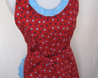 Cook in Style with this Happy Hostess Red, Blue and White Cotton Apron