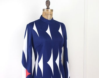 Vera Neumann - vintage 1970s navy blue shift dress with white and vermillion red MOD graphics - size 12, large