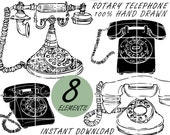 Vintage Telephone Doodle Clip Art, Rotary Telephone Hand Drawn Clipart, PNG, Lineart, Downloadable, Sketches, Silhouette, Doodled by Nedti