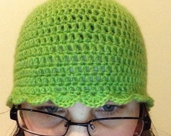 Green Beanie Style Hat With Shell Edging. - Ready To Ship