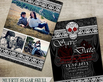 Wedding Save the Date, Sugar Skull Save the date, Wedding Announcement, Goth Printable Wedding Save the Date card, Black and White DIY
