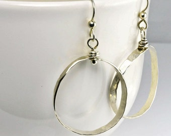 Hoop Sterling Silver earrings, Small Hoops, Sterling Hoops, Hoops, Sterling Earrings, Gift for her, 70's style earrings