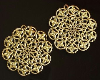 SALE - 10pc- Bright Gold  Filigree - Round Flower  drop, connector, pendant, link and more..cadmium free.
