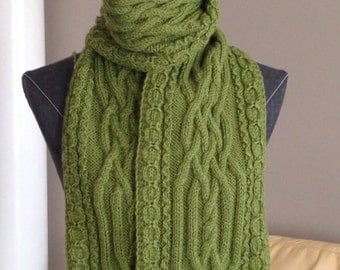 Long Green Handmade Knitted Scarf with Cables