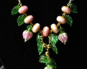 Pink Rose Floral Necklace Nature Enchanted Forest Wedding Rosebuds