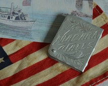 Vintage Antique Stamp Holder Stamp Tin Niagara Falls Collectible Silver Stamp Case Stamp Collectible