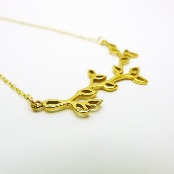 Tree Branch with Leaves Necklace   Natural Bronze   14K GF ChainTree Branch With Leaves