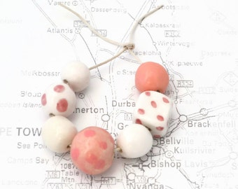 Pink and White Ceramic Beads, art beads, Earth Butter Beads, 7 Handmade Ceramic beads, Pink, White, African Beads