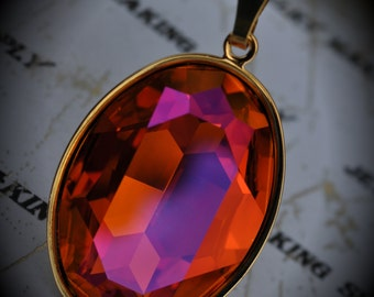 Genuine Gold Plated Swarovski Crystal Astral Pink Oval Pendant