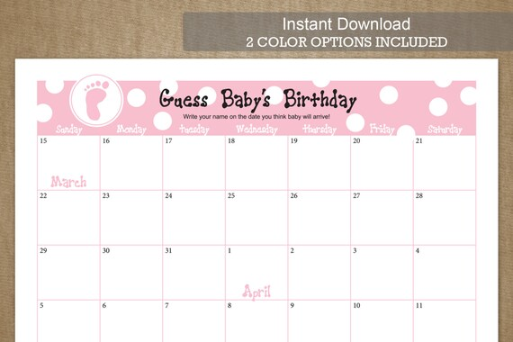 Guess Baby's Birthday - Due Date Calendar Game - for APRIL 2015 - Blue ...