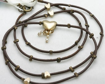 HANDMADE Leather Necklace Gold Plated Beads Heart LOLA Israel Valentines Day