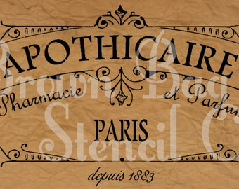 French Stencil - APOTHICAIRE - 12x20 7.5 mil mylar