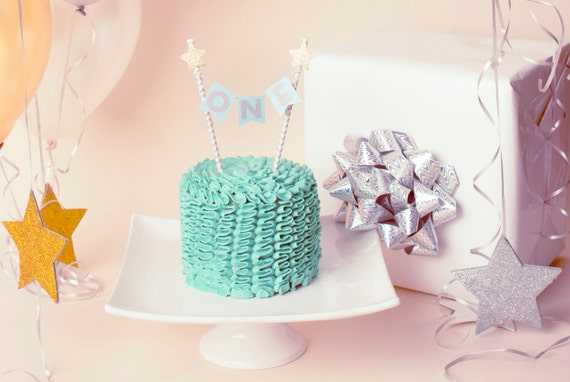 First Birthday Blue and Grey Chevron Cake Topper with Gold