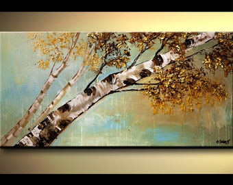 "Modern Painting 48"" x 24"" Contemporary Palette Knife Textured Birch Tree Painting by Osnat - MADE-TO-ORDER"